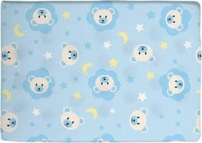 Travesseiro Antissufocante Azul Estampado Ursinho