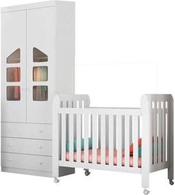 Quarto de Bebê Guarda Roupa 2 Portas Eloísa e Berço Lollipop Branco - Phoenix Baby