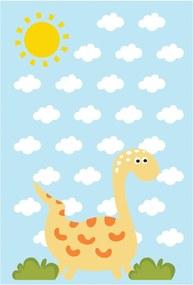 Placa Decorativa Quartinhos MDF Infantil Dinossauro Baby 2 Amarelo