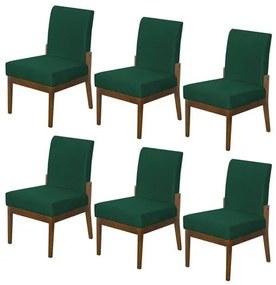 Kit 6 Cadeiras Jantar Helena Estofada Suede Verde Bandeira