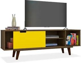 Rack para TV até 40 Polegadas, Rustik com Amarelo Acetinado, Versa