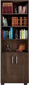 Estante de Livros para Escritório Home Office Portas Pequenas Alf Avelã Texturizado - Gran Belo