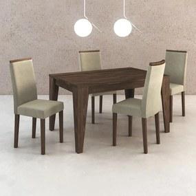 Mesa de Jantar 4 Lugares Cj1000 Suede Vanilla/Nogal - Tecno Mobili