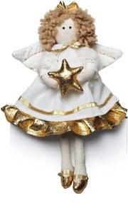 Anjo Decoração Natal Poliester 27X16Cm Cor Dourado E Branco