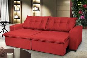Sofá Austrália 2,12m Retrátil, Reclinável, Molas E Pillow No Assento Tecido Suede Vermelho Cama Inbox