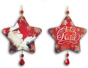 Plaquinha Móbile Estrela Feliz Natal - 14x13,5 cm