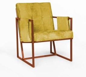 Poltrona Megan Luxo  Decorativo Base Bronze Suede Amarelo