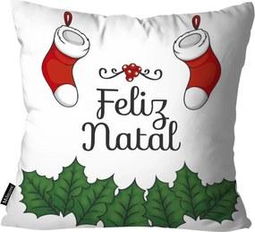 Capa para Almofada Feliz Natal Branco45x45
