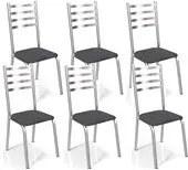 Kit 06 Cadeiras Cromadas Alemanha Preto Linho Kappesberg