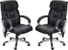 Kit 2 Cadeira de Escritório Home Office Ceuta Giratória com Massagem PU Preta - Gran Belo
