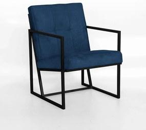 Poltrona Megan Decorativo Base Preto Suede Azul Marinho