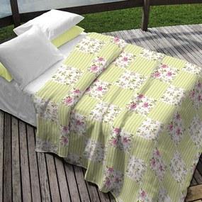 Kit Colcha Solteiro + Porta Travesseiro Teka Allegro Plus Monica Patchwork Tons Amarelos 2 Peças 100% Algodão