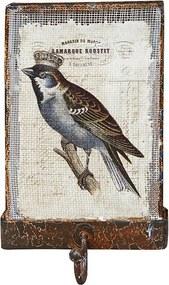 Gancho Simples Tela Rústico Bird Coroa