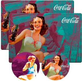 Conjunto 2 Jogos Americanos e 2 Porta-Copos Coca-Cola Brunette Lady