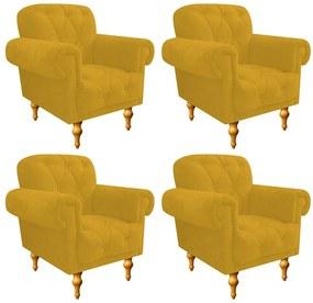 kit 04 Poltronas Decorativas Dani Suede Amarelo - ADJ Decor