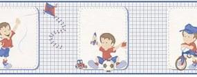 Faixa De Parede Menino Xadrez Azul E Vermelho 3204