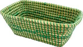 Cesto Pequeno em Rattan com Detalhes Verde 13 cm x 33 cm x 20 cm