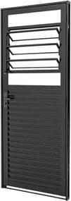 Porta de Aço Veneziana de Abrir com Báscula Prátika Black Preta 1 Folha Abertura Esquerda 217x87x6,5 - 24124320 - Sasazaki - Sasazaki