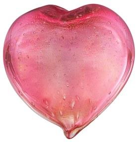 Coração Decorativo em Murano C/ Ouro - Pink