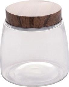 Porta mantimento Lyor de vidro c/tampa metálica estilo madeira 12,5x13cm Incolor