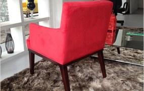 Poltrona Nay Multicoisas Vitória Suede Vermelho