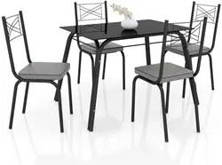 Jogo de Mesa Lótus Tampo de Vidro e 4 Cadeiras 119 Preto/Platina - Art