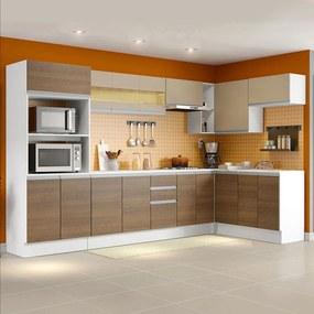 Cozinha Completa 100% MDF Madesa Smart Modulada de Canto Branco/Rustic/Crema Cor:Branco/Rustic/Crema
