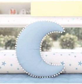 Almofada Azul Lua Pompons Decorativa 28cm Grão de