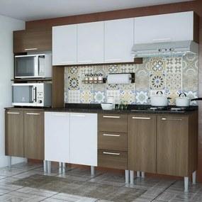Cozinha Compacta 11 Portas 3 Gavetas Bianca 0430t Castanho/Branco - Genialflex