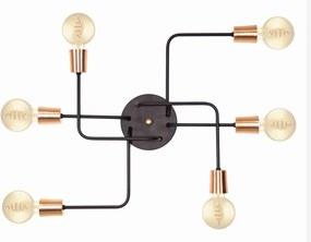 Plafon Para Sala de Estar Retro Vintage Industrial SE-9000-6 Preto Cobre