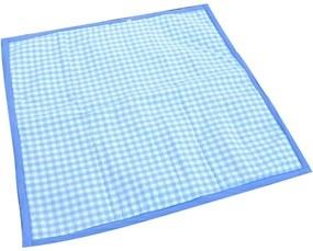 Tapete De Atividades Piquenique Impermeável E Acolchoado Xadrez Azul - 1,40m X 1,40m