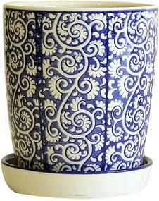 Cachepot em Porcelana com Prato Floral Arabesco Azul e Branco D18cm x A20cm
