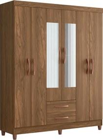 Guarda Roupa Ambar C/ Espelho 6 Portas Canela Albatroz Marrom