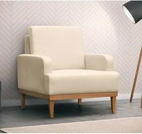 Poltrona Decorativa Base de Madeira Lady Suede Marfim - Mpozenato