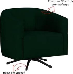 Poltrona Decorativa Giratória com Balanço Bia Suede Verde Musgo - Mpozenato