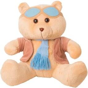 Urso Soft Mini Aviador Casaco Plush Cachecol e Óculos Azul