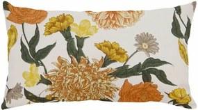 Capa de Almofada Retangular Moscou Algodão Floral Amarelo e Laranja 60x30cm