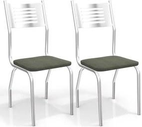 Kit com 2 Cadeiras para Copa, Cromada, Veludo Oliva, Saz III