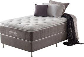 Conjunto Cama Box+Colchão de Solteiro Confortable MolaEnsacada 96X203X73 Cashmere Macio Marrom Anjos