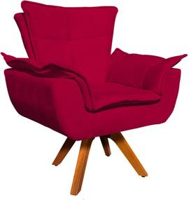 Poltrona Decorativa Giratória Gran Opala Base Madeira Suede Vermelho - D'Rossi