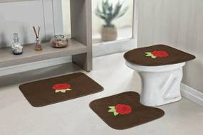 Jogo De Banheiro Guga Tapetes Rosas 3 Pçs Café