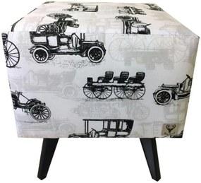 Puff Pé Palito Quadrado Alce Couch Venice Carros Carroça