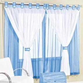 Cortina Juvenil 2,00m x 1,70m Tecido Voal para Varão Simples - Azul Azul