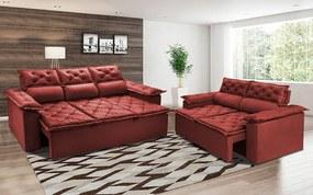 Conjunto De Sofá 3 E 2 Lugares Retrátil Reclinável Cama Inbox Compact 2,00x1,50m Velusoft Vermelho