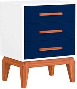 Mesa de Cabeceira Jatobá 3 gavetas Azul - Wood Prime PA 6067