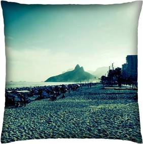 Almofada Colours Creative Photo Decor Praia de Ipanema no Rio de Janeiro - tamanho 45 x 45 cm Azul