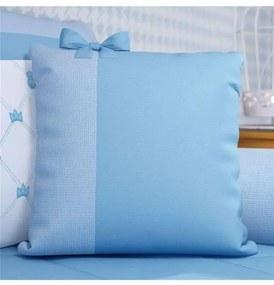 Almofada Azul Quadrada Laço Decorativa 38cm Grão d
