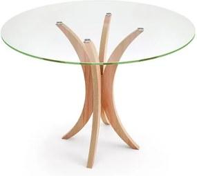 Mesa de Jantar Redonda para 4 Lugares com Tampo de Vidro Incolor