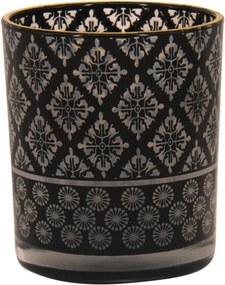 Castiçal Decorando com Classe Estampado de vidro preto 10cm