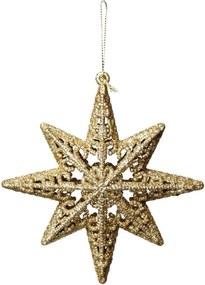 Estrela oito pontas pendurar Enfeite árvore 1 peça dourado